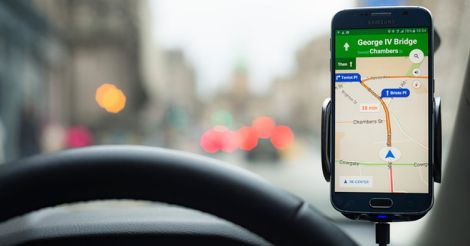 Google Maps Navigation on a Samsung S6 smartphone