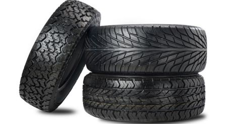 Three black tires