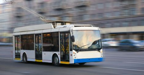 trolleybus going in the city