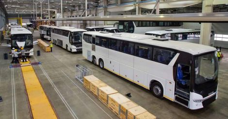 Bus body working at scania bus plant