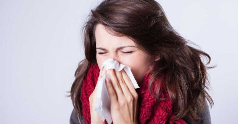 Woman with runny nose