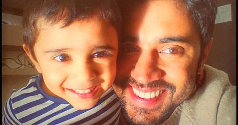 Nivin Pauly with his son