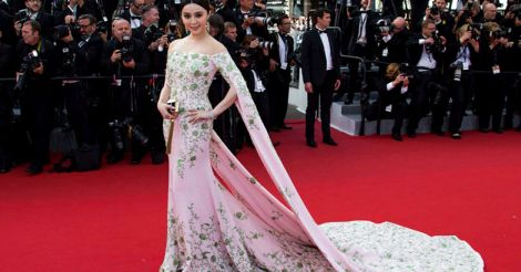 Chinese Actress Fan Bing Bing in Cape Dress
