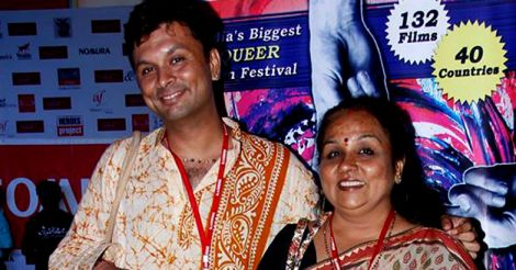 Harish with his mother