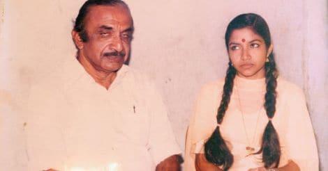 K S Chitra with father Krishnan Nair