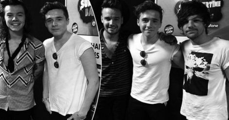 Brooklyn Beckham with One Direction Team