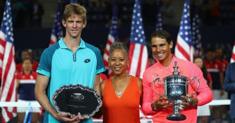Kevin Anderson of South Africa and Rafael Nadal of Spain pose with USTA President Katrina Adams.