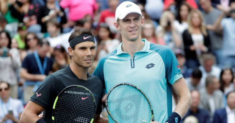 Kevin Anderson of South Africa takes a photo with Rafael Nadal of Spain in Men's Singles final match.