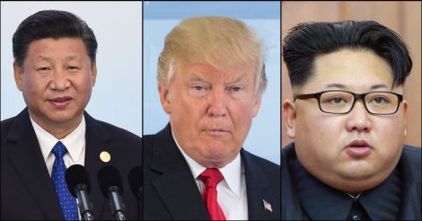 Xi Jinping, Donald Trump, Kim Jong Un