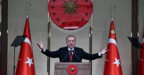 ANKARA, July 16, 2018 (Xinhua) -- Turkish President Recep Tayyip Erdogan makes a speech during a commemoration event marking the second anniversary of the defeated failed coup in 2016 in Ankara, Turkey, July 15, 2018. (Xinhua/IANS)