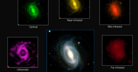 how a typical galaxy appears at different wavelengths in the GAMA survey