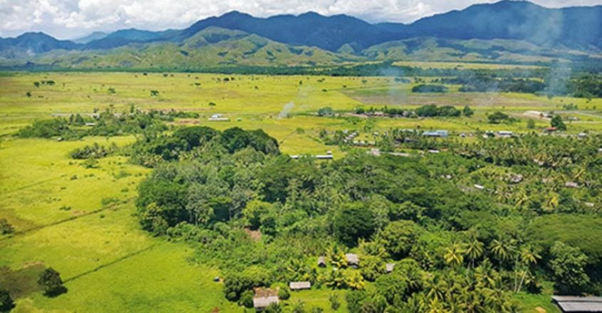 PNG Lae aerial view as coming into airport