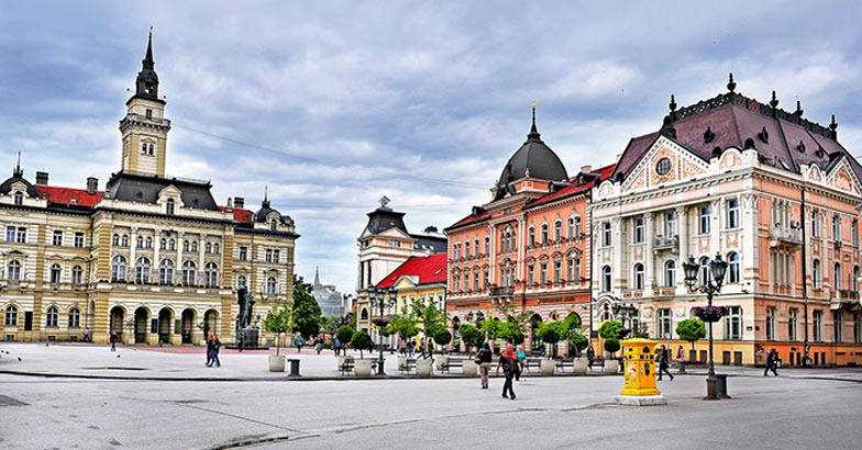View of central square of Novi Sad city, Serbia