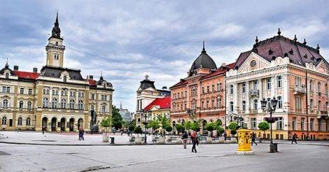 View of central square of Novi Sad city, Serbia