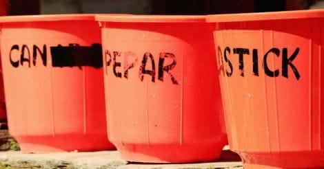 Plastic waste bins. Pitam Deurali-Nepal. 0551