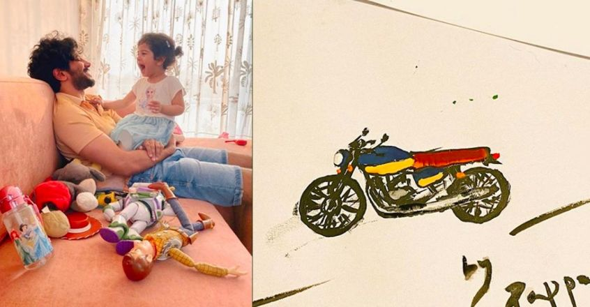social-media-post-of-dulquer-salmaan-drawing-for-daughter