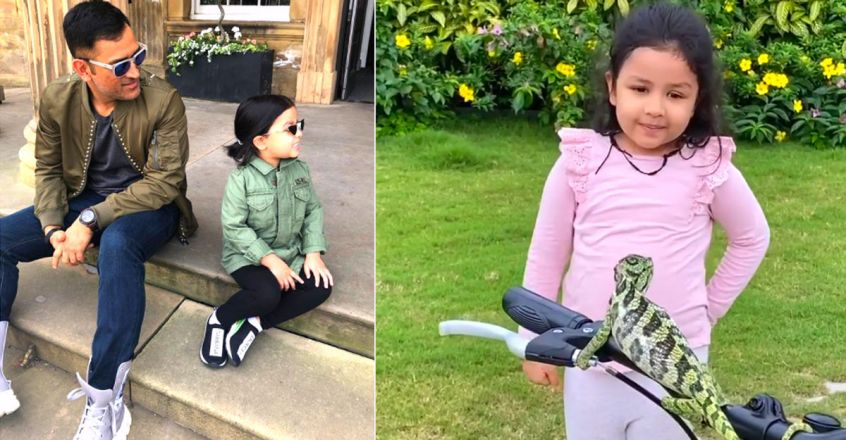 ms-dhoni-daughter-ziva-makes-new-friend-a-chameleon-in-the-garden-video
