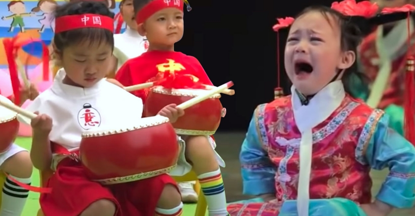 little-girls-struggle-to-perform-on-china-s-children-s-day