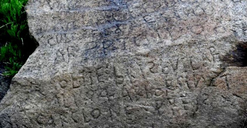Legendary inscription on mystery stone only seen at low tide