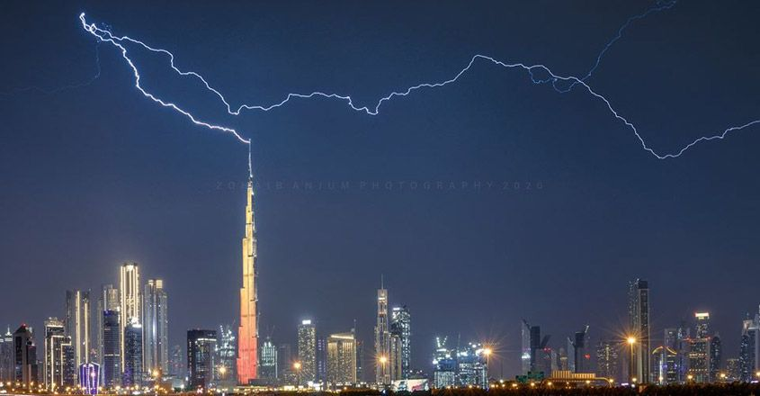 Lightning Strikes The World's Tallest Building
