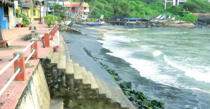 Rough seas and coastal erosion have completely altered the face of Kovalam beach