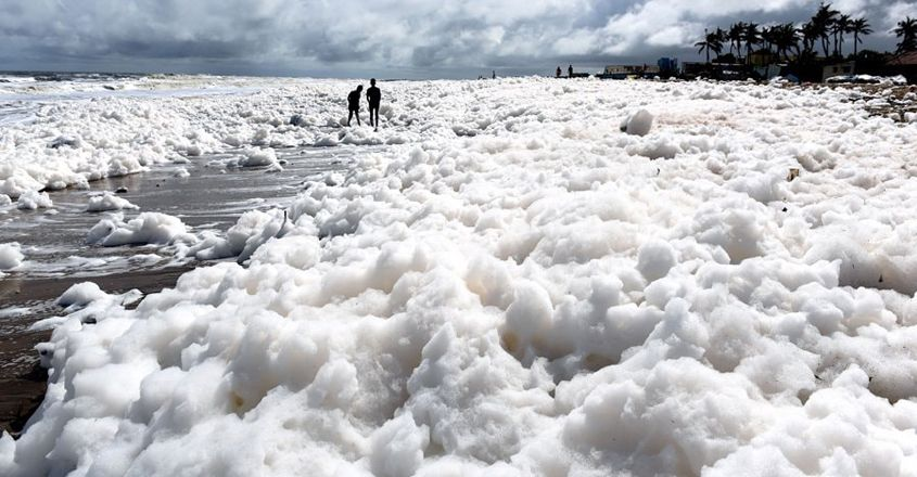 Toxic White Foam Washes Up on Marina Beach