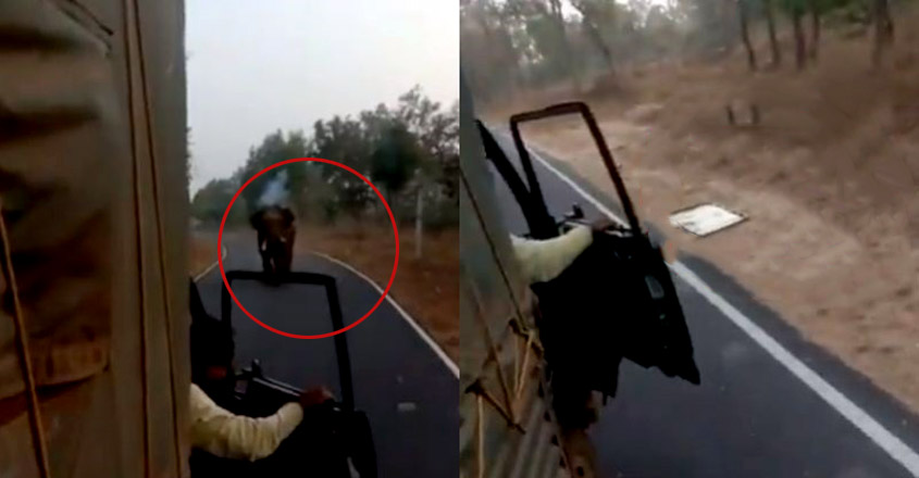 Angry Elephant Chases A Truck & Rips Of Bonnet With Its Tusks