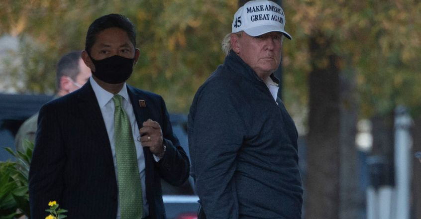 President Donald Trump returns to the White House from playing golf