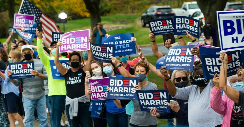 Supporters of Democratic presidential nominee and former Vice President Joe Biden