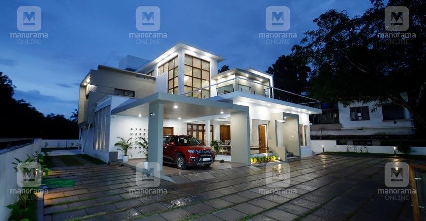 luxury-modern-home-malappuram-night
