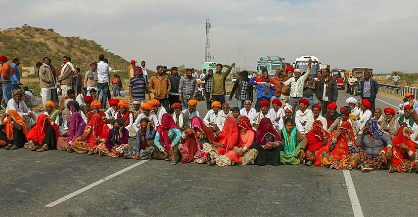 Gujjar community members block national highway 58