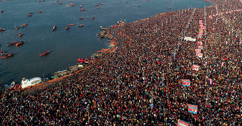 devotees gathered at Sangam on the occasion of Basant Panchami