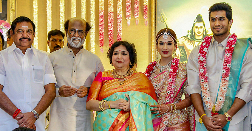 K Palaniswami attends the wedding ceremony of Rajinikanth's daughter
