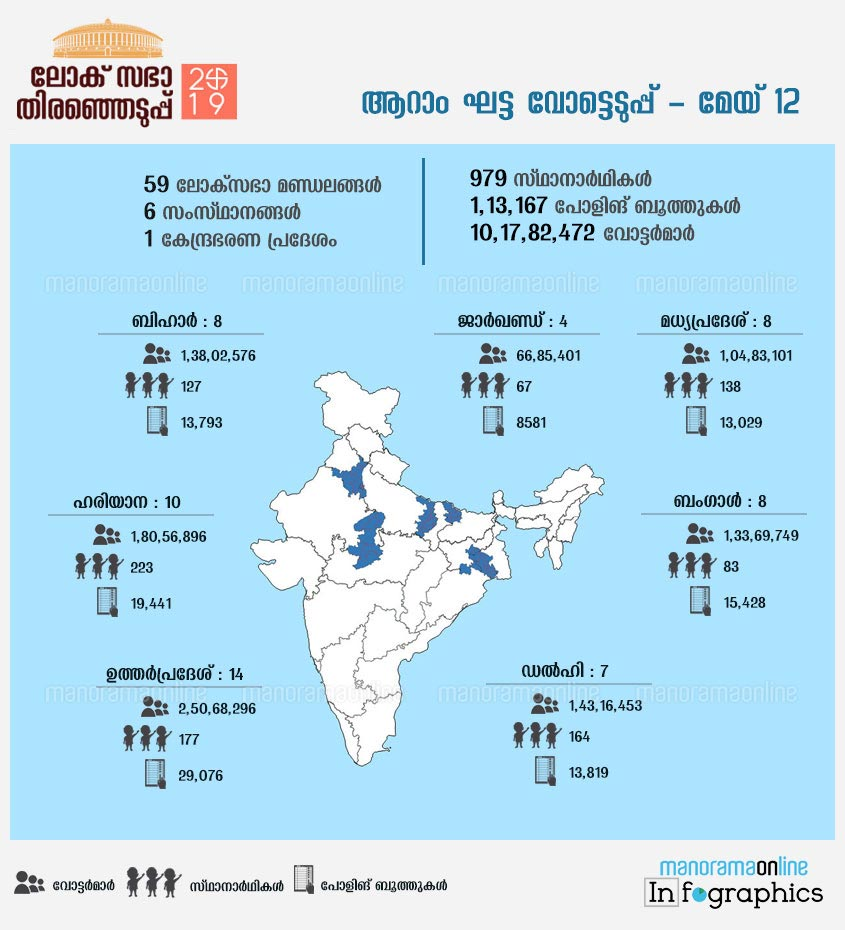 lok sabha elections sixth phase schedule states infographics election map