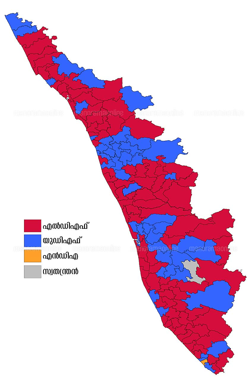 kerala assembly elections result 2016 map