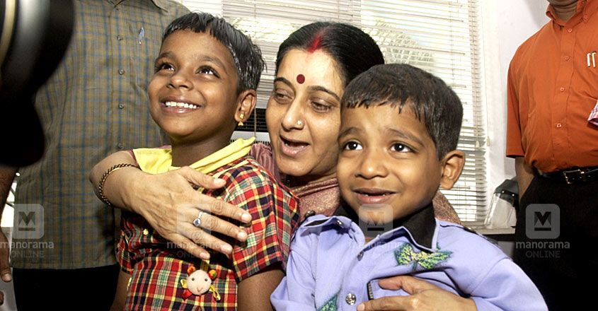 Benson & Bency with Sushama Swaraj