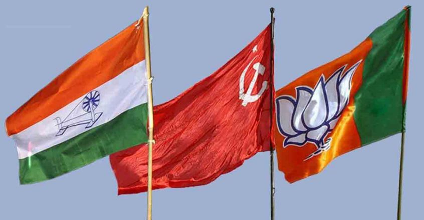 Congress-CPM-and-BJP-flags