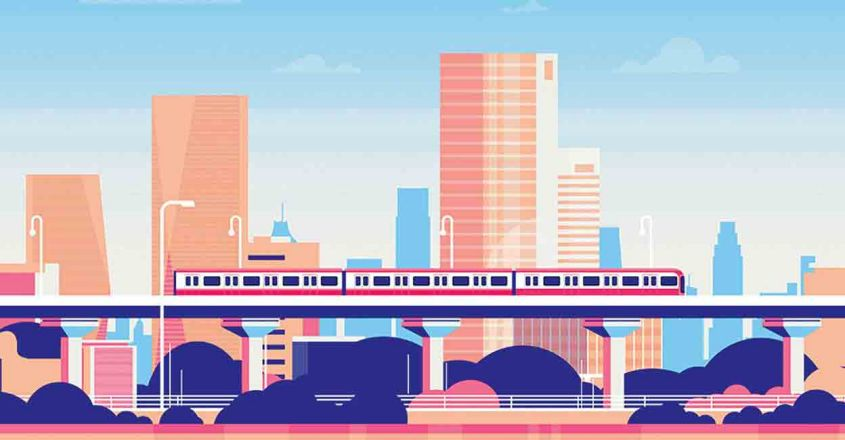 Subway over city skyscraper view cityscape background skyline flat banner, Subway over city skyscraper view cityscape background skyline flat banner