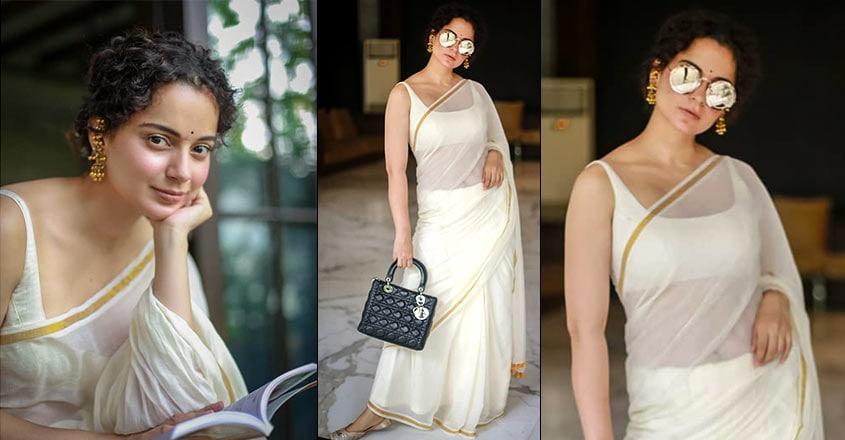 കങ്കണ, kangana, Saree, Fashion