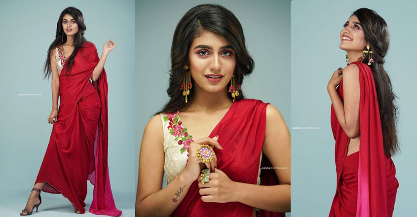 priya-prakash-varrier-stunning-look-in-red-saree