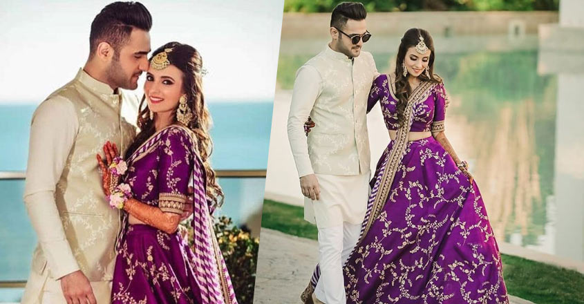beautiful-purple-lehenga-for-mehendi-sabyasachi-bride