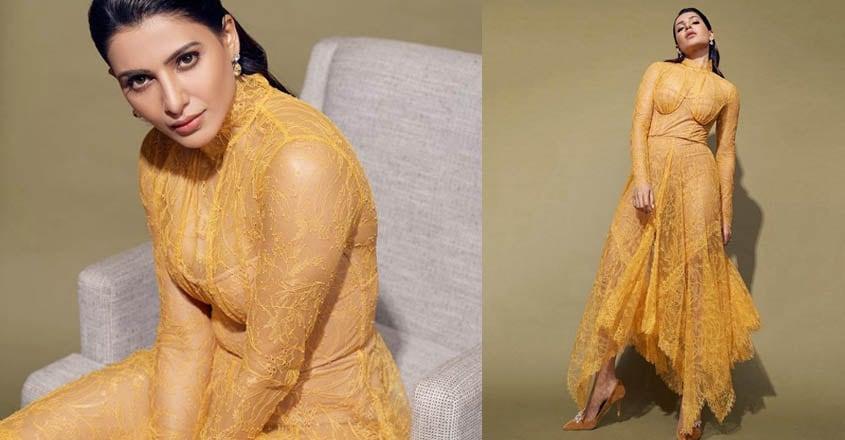 samantha-akkineni-wears-yellow-laze-dress