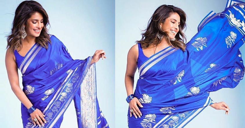 priyanka-chopra-stunning-look-in-blue-saree