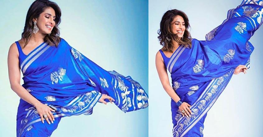 priyanka-chopra-blue-saree-2