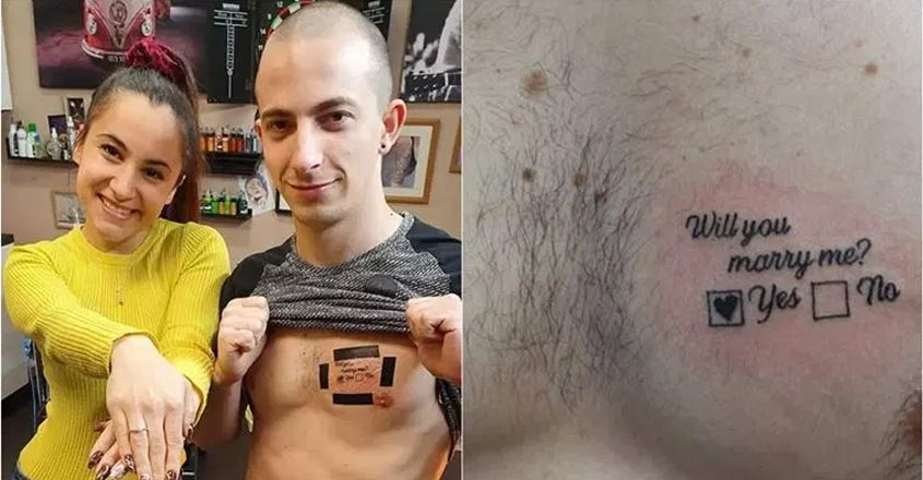 man-proposes-woman-with-tattoo-on-chest