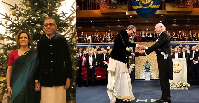 dressed-in-taditional-indian-outfit-abhijit-banerjee-and-esther-duflo-receive-economics-nobel
