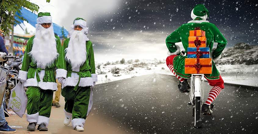 green-santa-claus-in-kochi-to-propagate-green-christmas