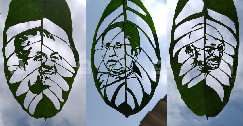 pinarayi-shailaja-leaf-art-by-jobilal