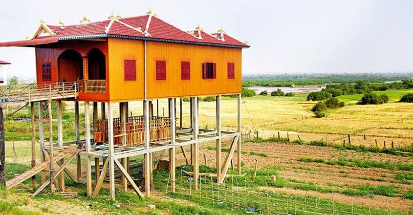 Khmer house built on stilts
