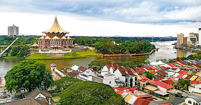 Traditional wooden houses in the Kuching to Sarawak Culture vill